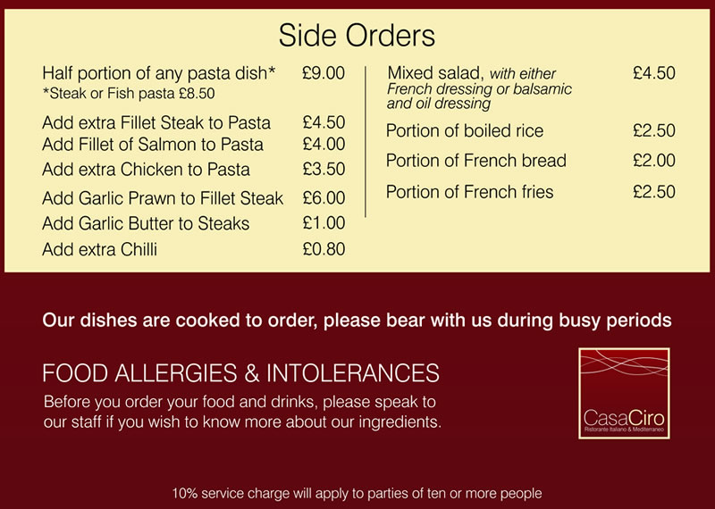 Side Orders Menu